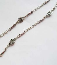 1m Tibetan Style Silver link chain. Dot Scroll and Chunky Bar.